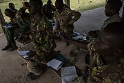 Rangers answer questions during a classroom training at Garamba National Park Headquarters on November 27, 2017.
