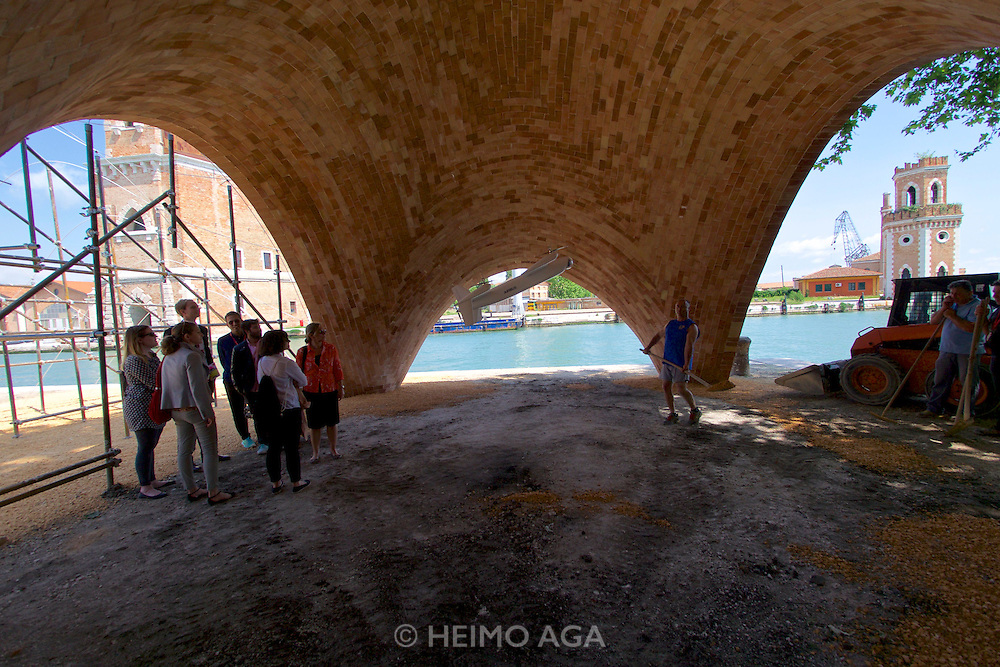 """Venice, Italy - 15th Architecture Biennale 2016, """"Reporting from the Front"""".<br /> Arsenale.<br /> Norman Foster Foundation,<br />Future Africa EPFL, Ochsendorf,<br />DeJong & Block<br />Block Research Group, ETH Zürich."""