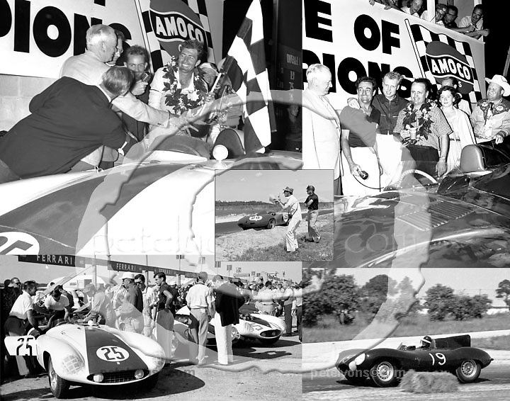 Sebring 1955 and Cunningham's THIRD WIN IN A ROW -- although it took a while to get a scoring confusion sorted out. Ozzie's TWO victory shots show the night's warring winners: first, Carroll Shelby and Phil Hill (Ferrari); then Mike Hawthorne and Phil Walters (Cunningham-entered Jaguar). That inset picture? It's Marquis Portago, who has beached his car, but is still enjoying the race.