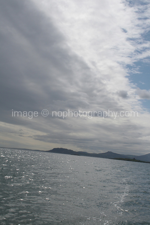 View from a boat in Dublin Bay sea in Ireland