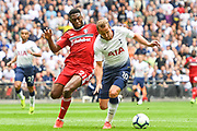 Tottenham Hotspur Forward Harry Kane (10) has a penalty appeal turned down after Fulham Defender Timothy Fosu-Mensah (21) brings him down during the Premier League match between Tottenham Hotspur and Fulham at Wembley Stadium, London, England on 18 August 2018.