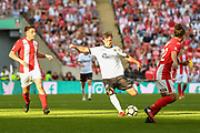 Frankie Raymond of Bromley FC (8) takes a shot at goal during extra time of the FA Trophy match between Brackley Town and Bromley at Wembley Stadium, London, England on 20 May 2018. Picture by Stephen Wright.