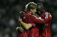 Photo: Lee Earle.<br /> Reading v Liverpool. Carling Cup. 25/09/2007. Fernando Torres (L) is congratulated by Momo Sissoko after he scored Liverpool's fourth goal.