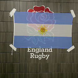 Argentina flag covers the England rose in the home chaging room during the Argentina Captains Run at Twickenham Stadium, Twickenham - 07/10/2016<br />