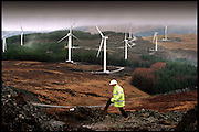 CONSTRUCTION ON THE NORTH SIDE OF SCOTTISHPOWER'S 30 MEGAWATT CRUACH MHOR WINDFARM IN ARGYLE.<br /> <br /> PICTURE BY PAUL DODDS - 0777 569 1846