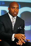 "Former New York Giants running back Tiki Barber speaks to members of the media as he is introduced as a news correspondent for NBC's ""The Today Show"" in New York, February 13, 2007. Barber will also be a sports analysts for NBC's ""Football Night in America""."