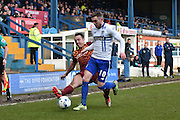 Bradford City Defender, Anthony McMahon tackles Bury Midfielder, Danny Mayor during the Sky Bet League 1 match between Bury and Bradford City at the JD Stadium, Bury, England on 5 March 2016. Photo by Mark Pollitt.