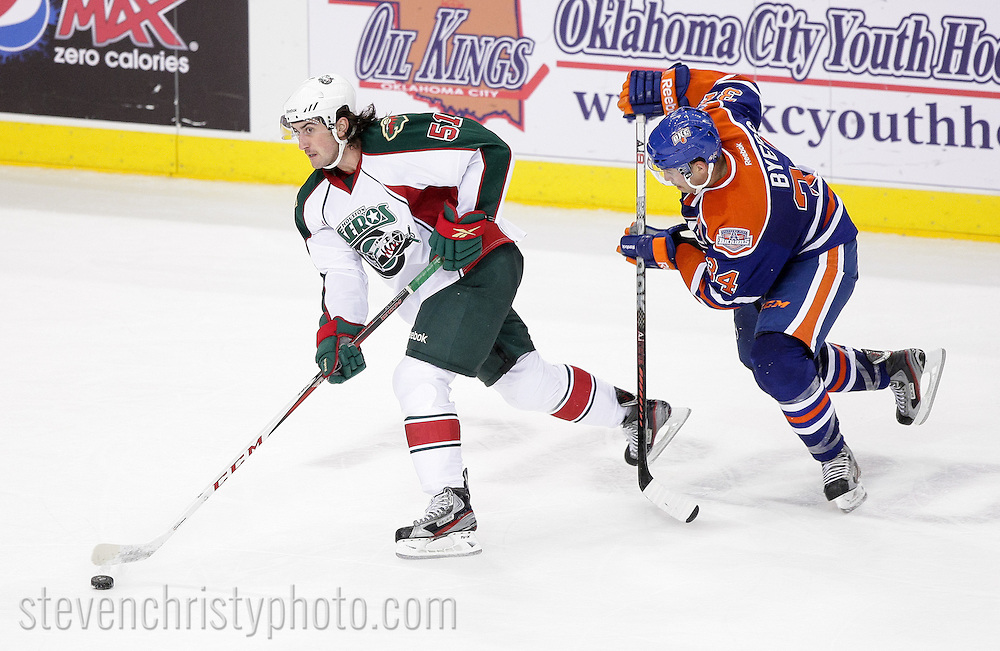 November 2, 2012: The Oklahoma City Barons play the Houston Aeros in an American Hockey League game at the Cox Convention Center in Oklahoma City.