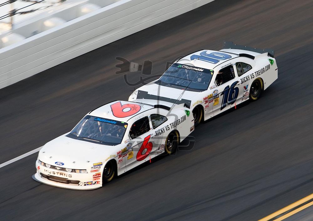 Daytona Beach, FL - July 01, 2011: Ricky Stenhouse, Jr. (6) and Trevor Bayne (16) race off turn four during the Subway Jalapeno 250 at Daytona International Speedway in Daytona Beach, FL.