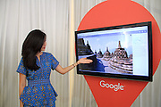 Sept. 27, 2015 - <br /> Google Maps Adds Street View of Borobudur Temple<br /> <br /> Sintya from Google showing the image recording by Google Maps in the complex of Borobudur Tourism Park (TWCB) Magelang, Central Java, Sunday, September 27, 2015. Along with this World Tourism Day marked the launch of Google street view of Borobudur temple which is now the majesty of this world Google Maps can be accessed via the Google Cultural Institute also launched for Indonesia.<br /> ©Exclusivepix Media