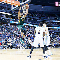 20 November 2016: Utah Jazz center Rudy Gobert (27) dunks the ball during the Denver Nuggets 105-91 victory over the Utah Jazz, at the Pepsi Center, Denver, Colorado, USA.