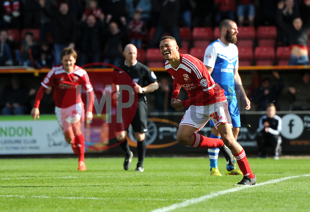 Swindon Town's Jermaine Hylton celebrates his goal - Photo mandatory by-line: Paul Knight/JMP - Mobile: 07966 386802 - 11/04/2015 - SPORT - Football - Swindon - The County Ground - Swindon Town v Peterborough United - Sky Bet League One