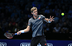 November 12, 2018 - London, UK - KEVIN ANDERSON of South Africa in action against Dominic Thiem of Austria during their Nitto ATP Finals match at the O2 arena in London. Anderson won 6:3, 7:6. (Credit Image: © Panoramic via ZUMA Press)