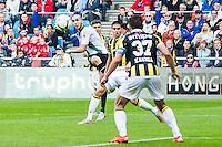 ARNHEM - Vitesse - FC Groningen , Voetbal , Eredivisie, Seizoen 2015/2016 , Gelredome , 03-10-2015 , FC Groningen speler Mimoun Mahi (l) met goede kans maar gaat net naast