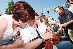 Jaka Lakovic at press conference and after time with fans of Slovenian basketball National Team before departure to Athens for Olympic qualifications, on July 12, 2008, at Presernov trg, in Ljubljana, Slovenia. (Photo by Vid Ponikvar / Sportal Images)