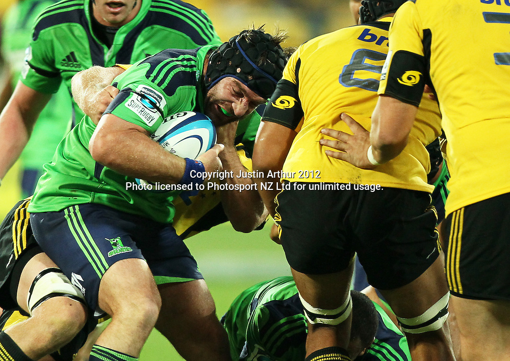 Highlanders' Andrew Hore in action during the 2012 Super Rugby season, Hurricanes v Highlanders at Westpac Stadium, Wellington, New Zealand on Saturday 17 March 2012. Photo: Justin Arthur / Photosport.co.nz