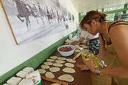Baden bei Wien, Lower Austria. Naadam Festival of OTSCHIR (Austrian-Mongolian Society) at the Trabrennbahn.<br /> Chuushuur (Mongolian dumplings).
