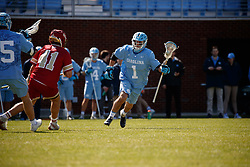 CHAPEL HILL, NC - MARCH 02: Alex Trippi #1 of the North Carolina Tar Heels during a game against the Denver Pioneers on March 02, 2019 at the UNC Lacrosse and Soccer Stadium in Chapel Hill, North Carolina. Denver won 12-10. (Photo by Peyton Williams/US Lacrosse)