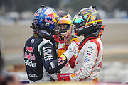20th May 2018, Winton Motor Raceway, Victoria, Australia; Winton Supercars Supersprint Motor Racing; Shane VanGisbergen, Fabian Coulthard and Scott McLaughlin celebrate together after race 14 of the 2018 Supercars Championship
