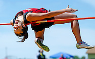 Norman County's Miki Lee clips the high jump bar from the standards during the Section 8A Track and Field Championship at the Johnson Sports Complex in Ada, Minn., on Saturday. Lee placed first in the event with a cleared height of 5 feet, 3 inches.