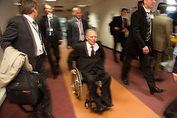 Wolfgang Schaeuble, Germany's finance minister, departs following the first meeting of the Van Rompuy task force on economic governance, in Brussels, Belgium, on Friday, May 21, 2010. (Photo © Jock Fistick)