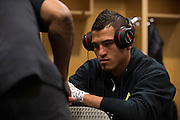 DALLAS, TX - MARCH 14:  UFC lightweight champion Anthony Pettis has his hands wrapped before fighting Rafael Dos Anjos during UFC 185 at the American Airlines Center on March 14, 2015 in Dallas, Texas. (Photo by Cooper Neill/Zuffa LLC/Zuffa LLC via Getty Images) *** Local Caption *** Anthony Pettis