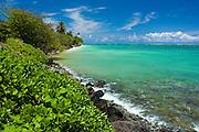 Ocean rocks and surf on windward coast of Oahu, Hawaii