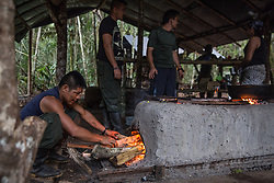 El Diamante, Meta, Colombia - 17.09.2016        <br /> <br /> Kitchen area of the guerilla camp during the 10th conference of the marxist FARC-EP in El Diamante, a Guerilla controlled area in the Colombian district Meta. Few days ahead of the peace contract passing after 52 years of war with the Colombian Governement wants the FARC decide on the 7-days long conferce their transformation into a unarmed political organization. <br /> <br /> Kueche des Guerilla-Camps zur zehnten Konferenz der marxistischen FARC-EP in El Diamante, einem von der Guerilla kontrollierten Gebiet im kolumbianischen Region Meta. Wenige Tage vor der geplanten Verabschiedung eines Friedensvertrags nach 52 Jahren Krieg mit der kolumbianischen Regierung will die FARC auf ihrer sieben taegigen Konferenz die Umwandlung in eine unbewaffneten politischen Organisation beschlieflen. <br />  <br /> Photo: Bjoern Kietzmann