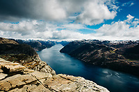 A view of Lysefjord from Preikestolen (Pulpit Rock) in Norway