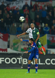 OSIJEK, CROATIA - Tuesday, October 16, 2012: Wales' captain Ashley Williams in action against Croatia's Eduardo Da Silva during the Brazil 2014 FIFA World Cup Qualifying Group A match at the Stadion Gradski Vrt. (Pic by David Rawcliffe/Propaganda)