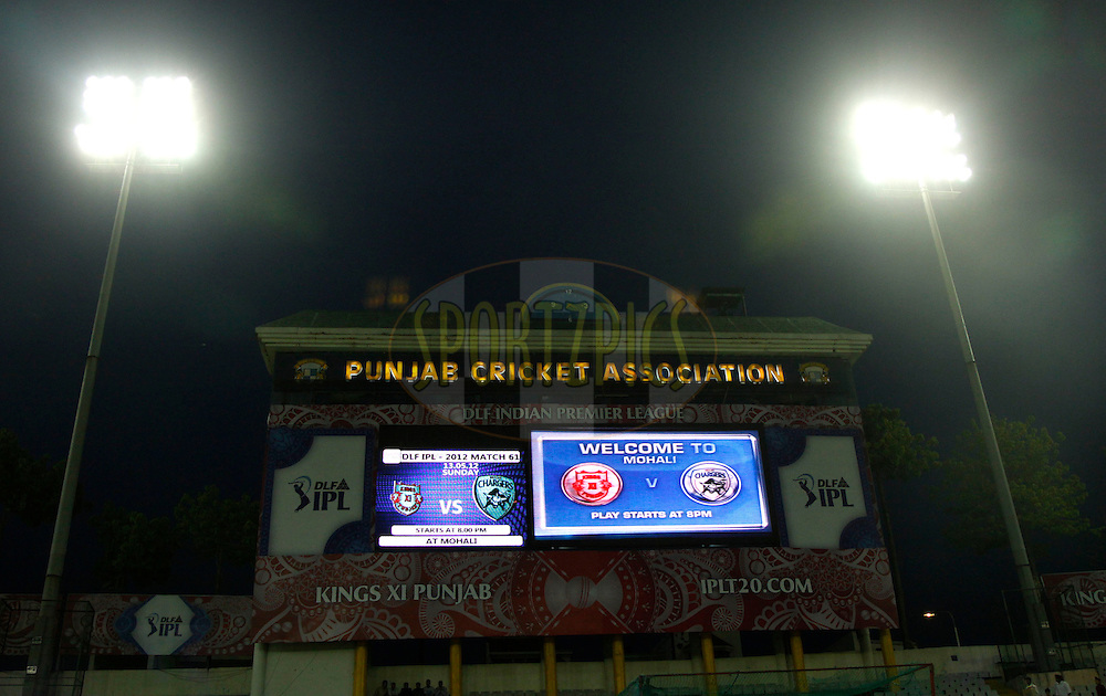 Giant Screen during match 61 of the the Indian Premier League ( IPL) 2012  between The Kings X1 Punjab and The Deccan Chargers held at the Punjab Cricket Association Stadium, Mohali on the13th May 2012..Photo by Sandeep Shetty/IPL/SPORTZPICS