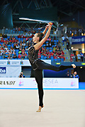 Rizatdinova Anna during final at clubs in Pesaro World Cup at Adriatic Arena on April 12, 2015. Anna was born July 16, 1993 in Simferopol, she is a Ukrainian individual rhythmic gymnast.