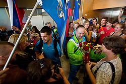 Darko Duric and Francek Gorazd Tirsek of Team Slovenia at arrival to Airport Joze Pucnik after the London 2012 Paralympic Games on September 10, 2012, in Brnik, Slovenia. (Photo by Vid Ponikvar / Sportida.com)