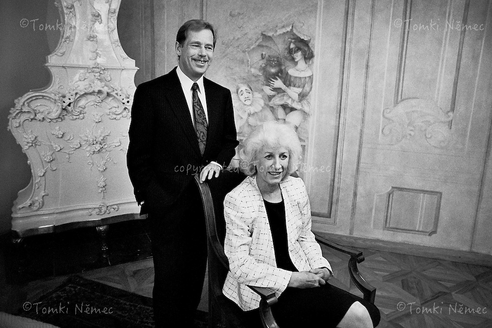 Vaclav Havel and his wife Olga starting pose during photography of their official portrait.