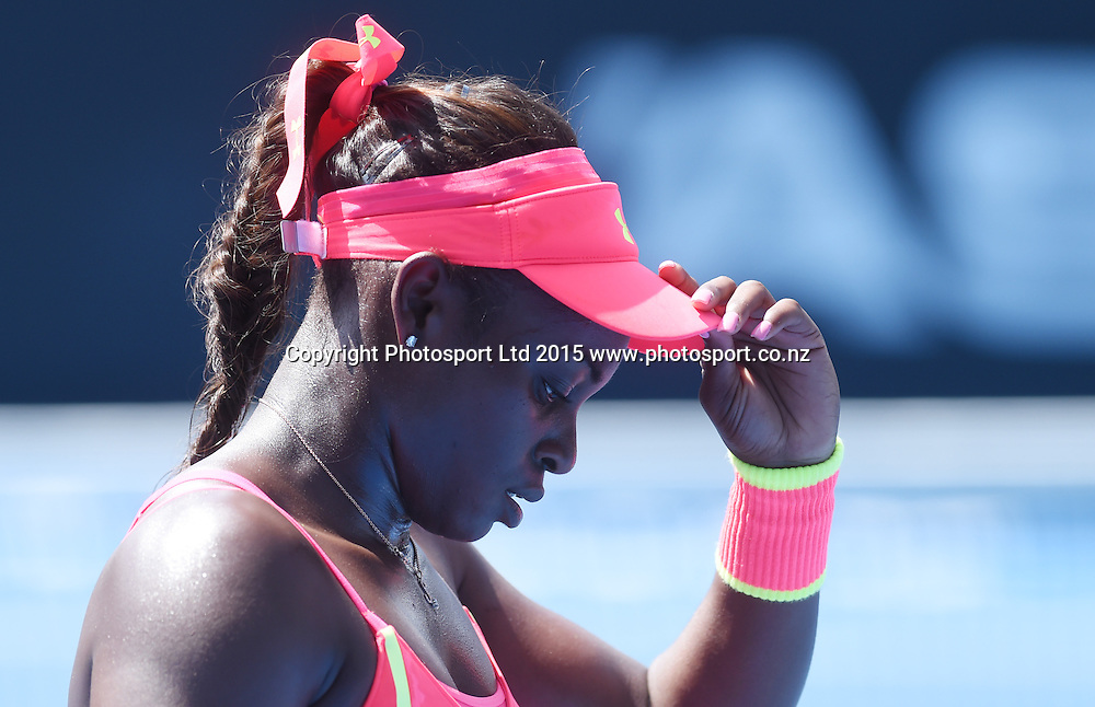 USA's Sloane Stephens during her first round singles match on Day 1 at the ASB Classic WTA International. Auckland, New Zealand. Monday 5 January 2015. Copyright photo: Andrew Cornaga/www.photosport.co.nz