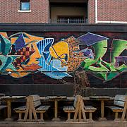 Original aerosol artwork created on location at Gabe's Bar in Iowa City, IA. 2015.