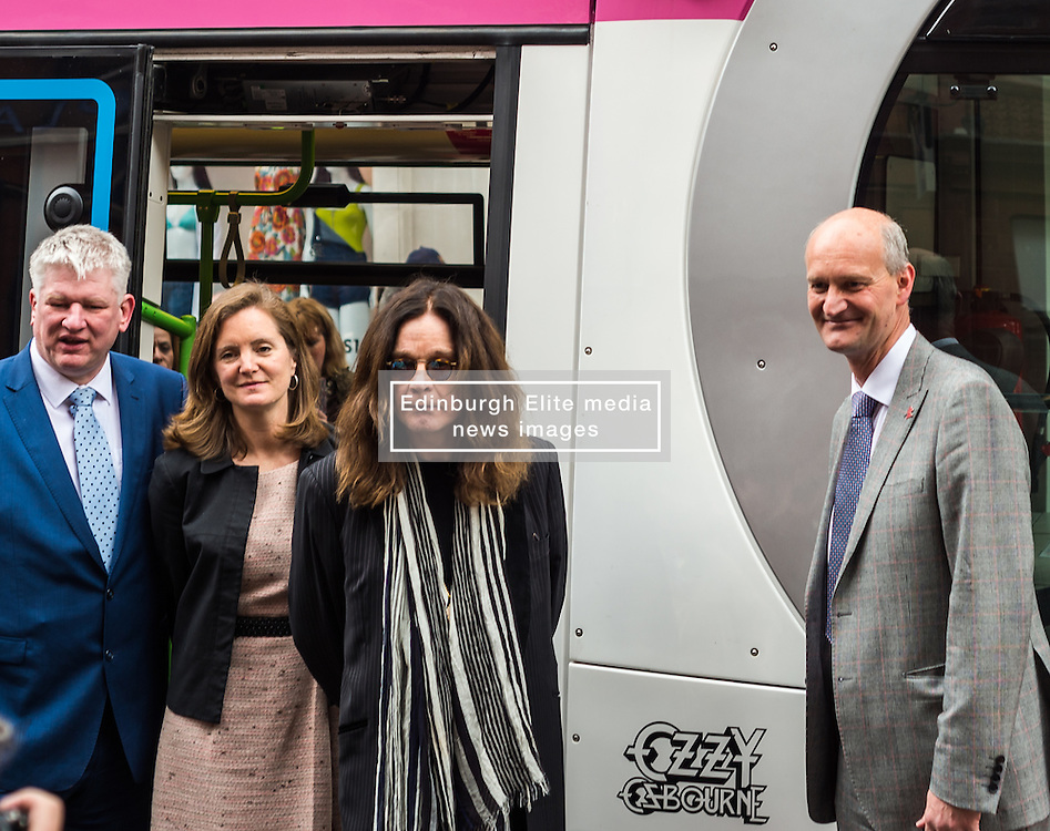 Ozzy Osbourne back home in Birmingham to unveil a Midland Metro tram named in his honour on a new route in the city centre.<br /> <br /> (c) John Baguley   Edinburgh Elite media