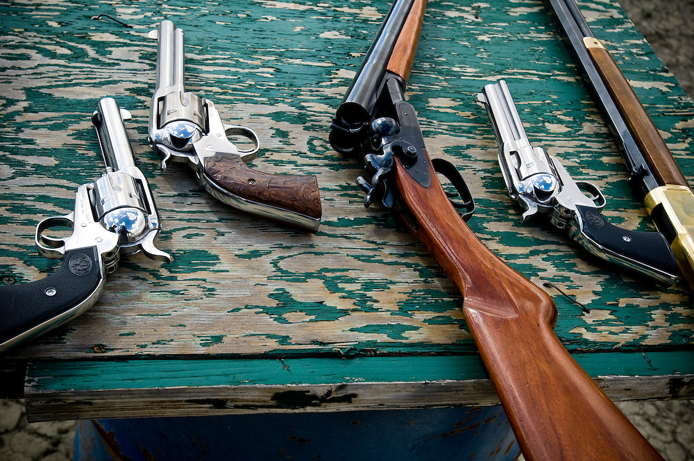 Replicas of 19th century guns used for Cowboy Action Shooting..Photographer: Chris Maluszynski /MOMENT