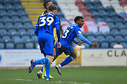 GOAL Kgosi Nthle celebrates scoring 2-1 during the EFL Sky Bet League 1 match between Rochdale and Scunthorpe United at Spotland, Rochdale, England on 23 March 2019.