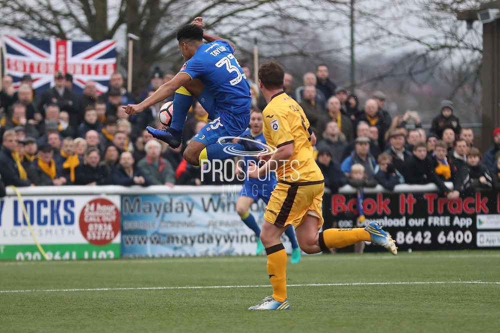 AFC Wimbledon striker Lyle Taylor (33) during The FA Cup match between Sutton United and AFC Wimbledon at Gander Green Lane, Sutton, United Kingdom on 7 January 2017. Photo by Stuart Butcher.