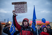 "Prostestors with EU flags in front of  ""Top Hotel"" in Prague's quater Chodov (The sign reads: ""Wilders, Le Pen, Okamura - Europes nightmare""). They are protesting for European values and against the conference of the European anti-migrant parties ""Europe of Nations and Freedom"" (ENF). Attending were Marie Le Pen from France, Geert Wilders from Holland and Tomio Okamura of the Freedom and Direct Democracy (SPD) movement from Czech Republic which was hosting the meeting."