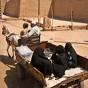 Islamic women being driven in the back of a horse drawn cart in Morocco