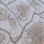 Dried patterns of earth near Mesquite Dunes in Death Valley National Park.