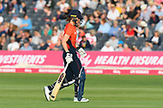 Wicket - Amy Jones of England looks dejected as she walks back to the pavilion after being dismissed by Ashleigh Gardner of Australia during the 3rd Vitality International T20 match between England Women Cricket and Australia Women at the Bristol County Ground, Bristol, United Kingdom on 31 July 2019.