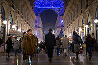 Milan, Italy- December 15, 2014: Shoppers browse the shops in the Galleria Vittorio Emanuele II, one of the world's oldest shopping malls. Located near Piazza del Duomo, the structure features two large glass-vaulted arcades which create an octagonal dome in the center. The mall dates back to 1877 and features some of the oldest shops in Milan.   CREDIT: Chris Carmichael for The New York Times