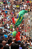Football - FIFA Beach Soccer World Cup 2006 - Group A - BRA x POL - Rio de Janeiro - Brazil 03/11/2006<br />Brazilian fans cheer during the match  Event Title Board Mandatory Credit: FIFA / Ricardo Moraes
