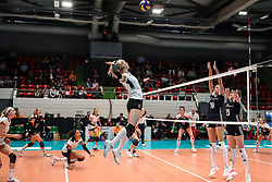 16.05.2019, Montreux, SUI, Montreux Volley Masters 2019, Deutschland vs Polen, im Bild attack by Louisa Lippmann (Germany #11) // during the Montreux Volley Masters match between Germany and Poland in Montreux, Switzerland on 2019/05/16. EXPA Pictures © 2019, PhotoCredit: EXPA/ Eibner-Pressefoto/ beautiful sports/Schiller<br /> <br /> *****ATTENTION - OUT of GER*****