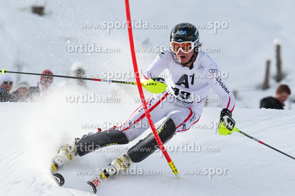 27.01.2013, Ganslernhang, Kitzbuehel, AUT, FIS Weltcup Ski Alpin, Slalom, Herren, 1. Lauf, im Bild Manuel Feller (AUT) // Manuel Feller of Austria in action during 1st run of the  mens Slalom of the FIS Ski Alpine World Cup at the Ganslernhang course, Kitzbuehel, Austria on 2013/01/27. EXPA Pictures © 2013, PhotoCredit: EXPA/ Sammy Minkof