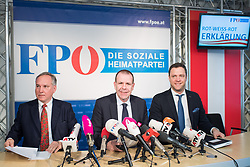"13.02.2018, Bundespartei, Wien, AUT, FPÖ, Präsekonferenz zum Thema ""Präsentation der Beschlüsse des Bundesvorstandes zur Aufarbeitung der eigenen Vergangenheit"" . im Bild Geschäftsführender FPÖ-Klubobmann Walter Rosenkranz, Mitglied des Europaparlaments und Generalsekretär FPÖ Harald Vilimsky und FPÖ-Klubobmann Johann Gudenus // Managing party whip of the Austrian Freedom Party Walter Rosenkranz, MEP Harald Vilimsky (Europe of Nations and Freedom Group ) and Party whip of the Austrian freedom party Johann Gudenus during media conference of the austrian freedom party in Vienna, Austria on 2018/02/13. EXPA Pictures © 2018, PhotoCredit: EXPA/ Michael Gruber"