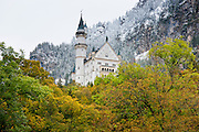 Schloss Neuschwanstein castle, 19th Century Romanesque revival palace of Ludwig II of Bavaria in the Bavarian Alps, Germany